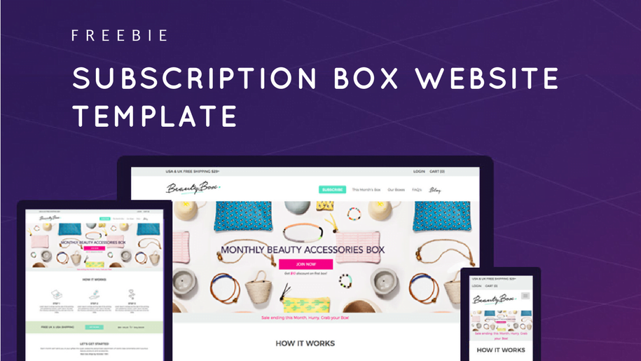 freebie download free subscription box website template